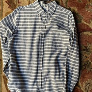 Old Navy Gray and White Striped Button Down Shirt